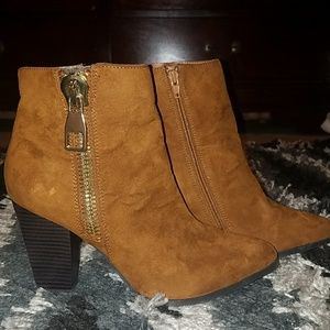 Express Cognac Faux Suede Heeled Ankle Booties